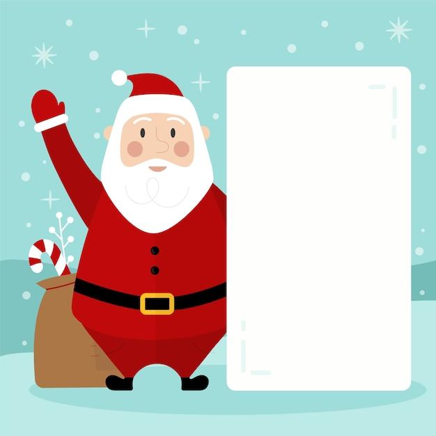 Santa claus holding blank banner Free Vector