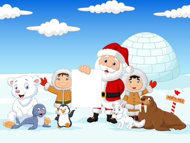 Santa claus holding blank sign with friends Premium Vector