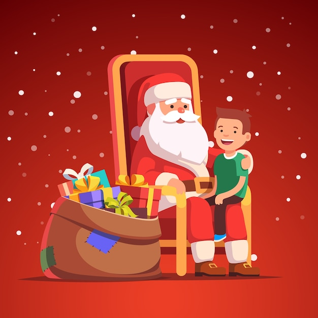 Santa claus holding little smiling boy on his lap Free Vector