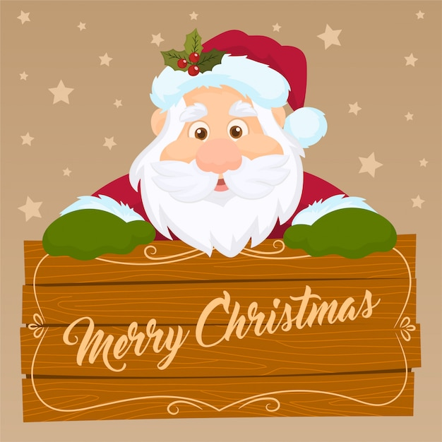 Santa claus holding a wooden banner Premium Vector