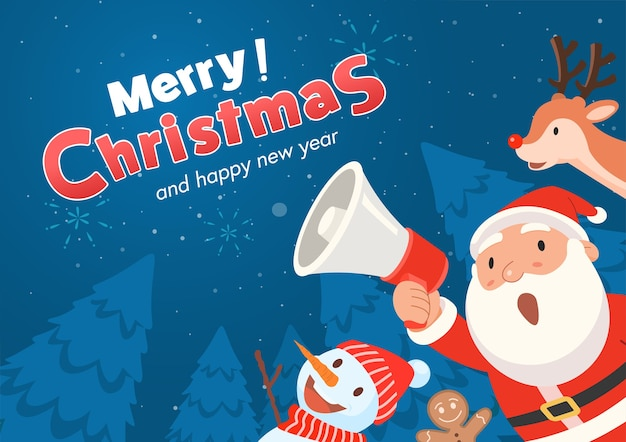 Santa claus holds a megaphone and announces merry christmas and happy new year. Free Vector