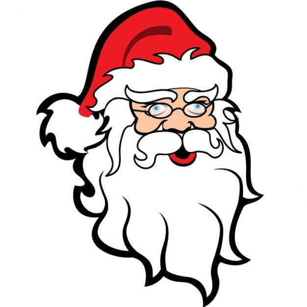 santa claus illustration with white beard free vector - White Santa Claus