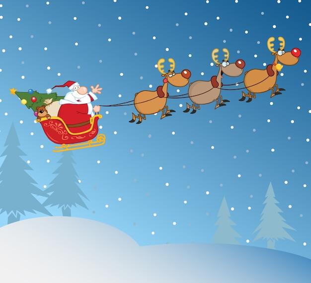 Дед мороз в полете со своим оленем и санями Premium векторы