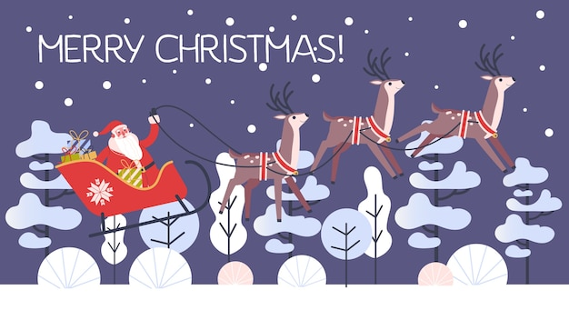 そりと実行中の鹿のサンタクロース。ギフトのクリスマスキャラクター Premiumベクター