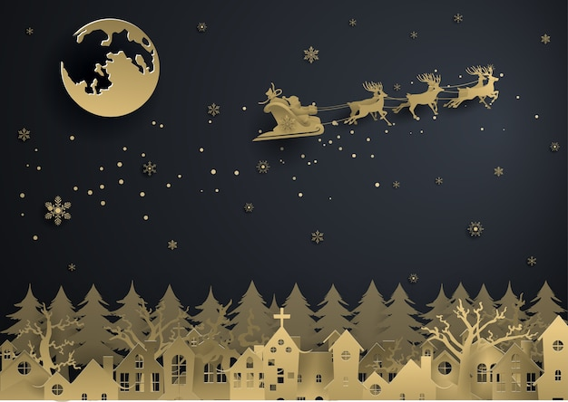 Santa claus is coming town with gold snowflake Premium Vector