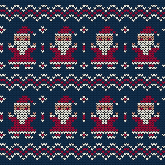 Santa claus knitted pattern of christmas Free Vector