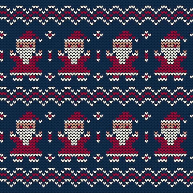 クリスマスのサンタクロースニットパターン 無料ベクター