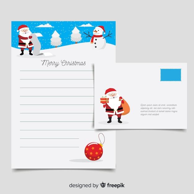 Santa claus list christmas letter template Free Vector