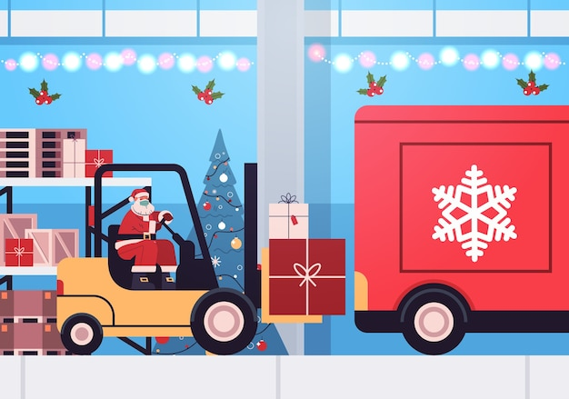 Santa claus in mask forklift truck loading colorful gifts in lorry truck merry christmas happy new year express delivery concept horizontal vector illustration Premium Vector
