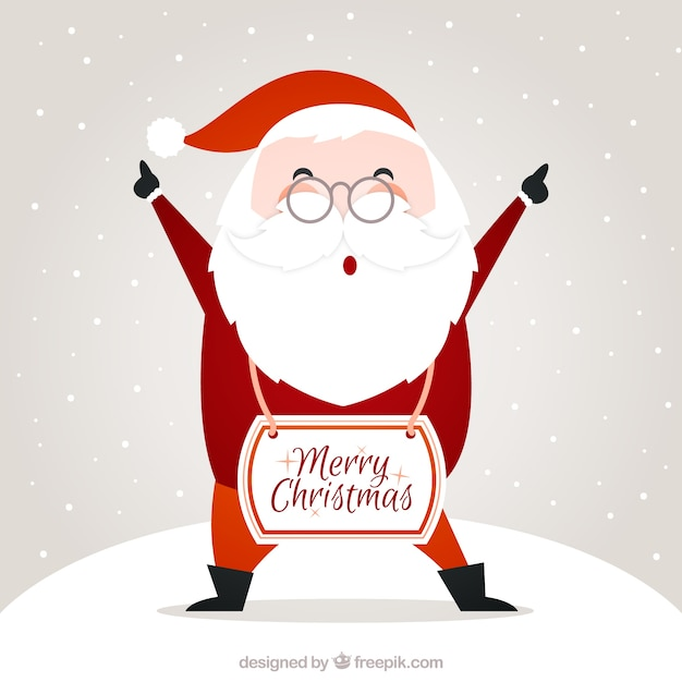 Santa claus merry christmas card Free Vector