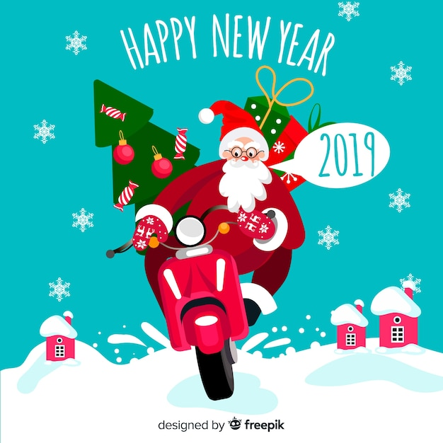 Santa claus motorcycle new year background Free Vector
