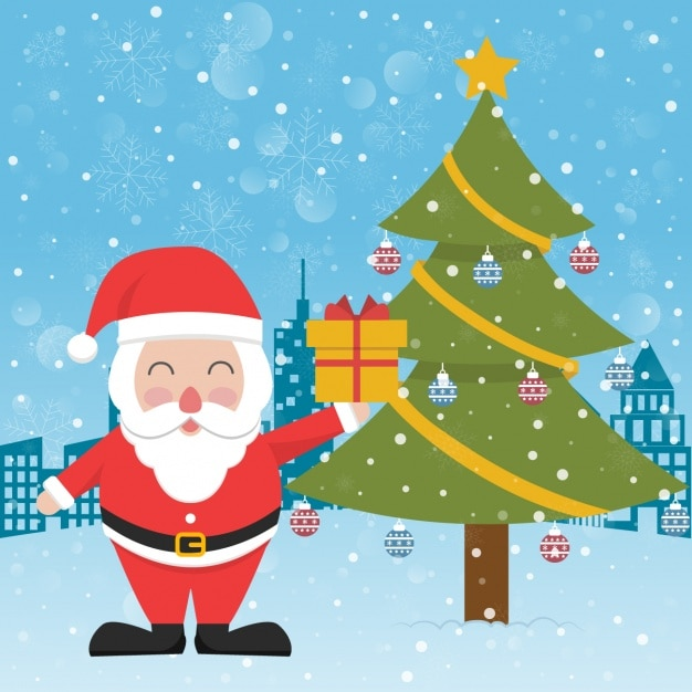 santa claus next to a christmas tree free vector