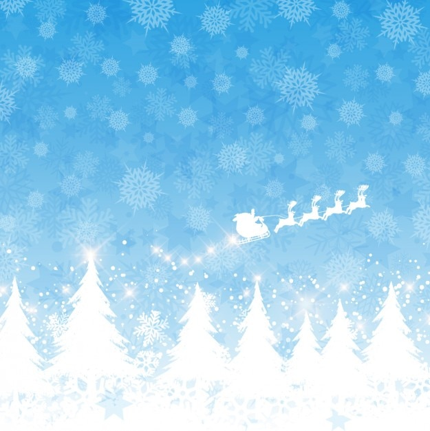 Santa claus on a sled flying blue background Free Vector