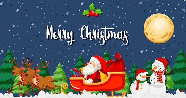 Санта-клаус на санях с оленями на ночной сцене Бесплатные векторы