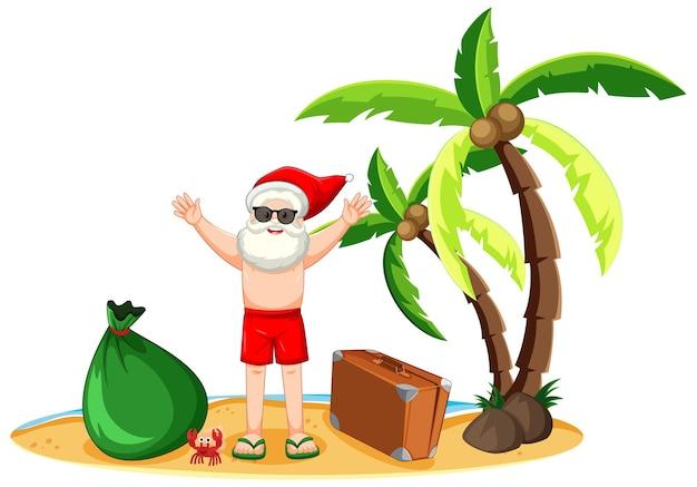 여름 크리스마스 해변 섬에 산타 클로스 무료 벡터