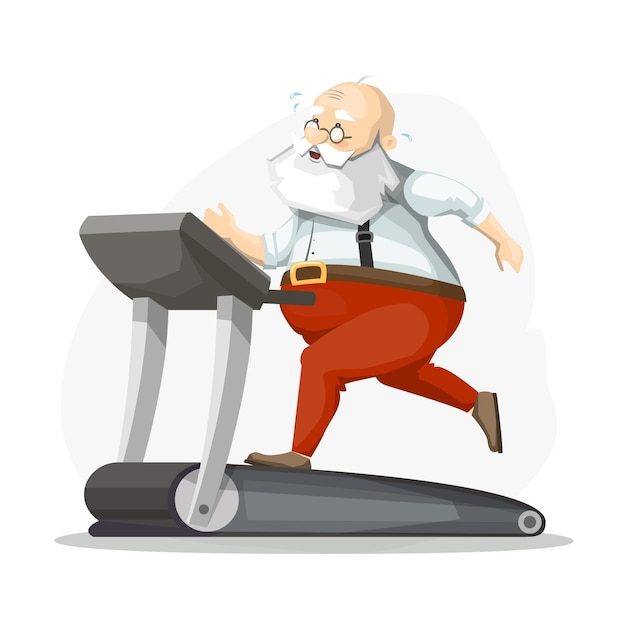 디딜 방아에 산타 클로스, 달리기, 체중 감량. 크리스마스 준비. 프리미엄 벡터