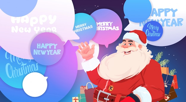 メリークリスマスと新年あけましておめでとうございますメッセージを持つチャット泡でサンタクロースホリデーポスター Premiumベクター