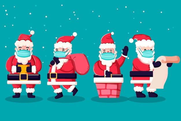 Santa claus pack wearing medical mask Free Vector