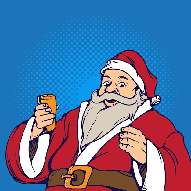 santa claus pop art retro vector illustration holidays new year and christmas premium vector