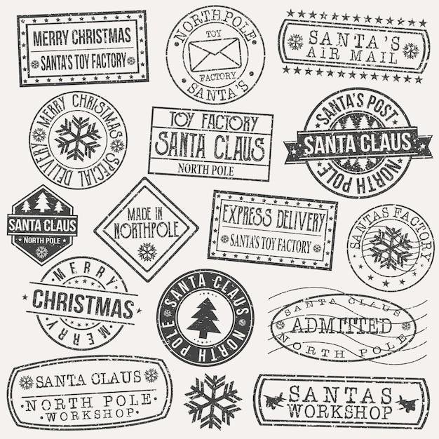 Santa claus postcard stamp vector art design retro postage Premium Vector