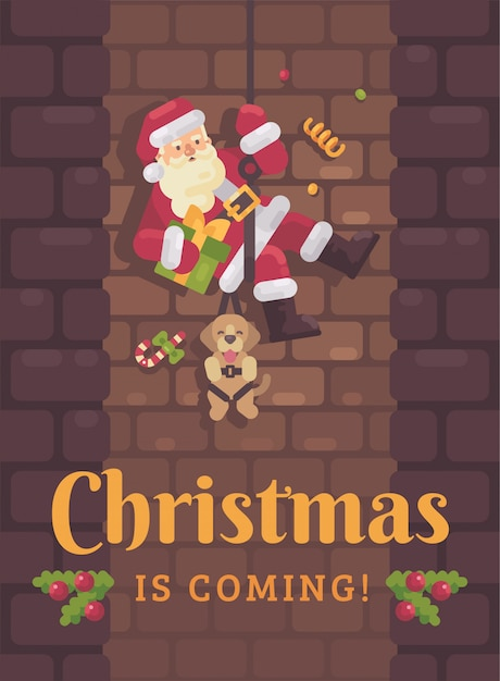 Santa claus rappelling down the chimney with a dog and a present in hand. christmas greeti Premium Vector