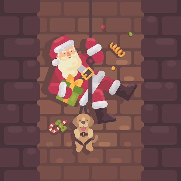Santa claus rappelling down the chimney Premium Vector