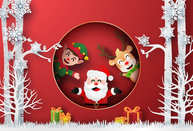 Santa claus, reindeer and elf inthe forest with christmas gift Premium Vector