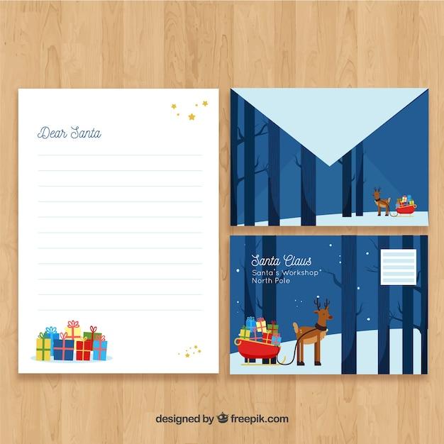 Santa claus reindeer scene letter template Free Vector