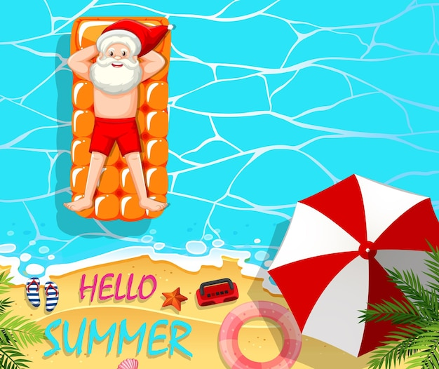 Santa claus relax in the pool summer theme Free Vector