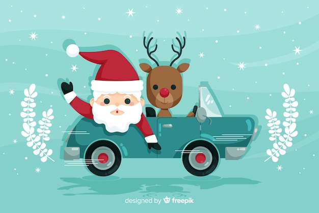 Santa claus ridding car with reindeer Free Vector