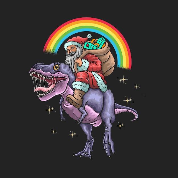Santa claus ride dinosaur illustration Premium Vector