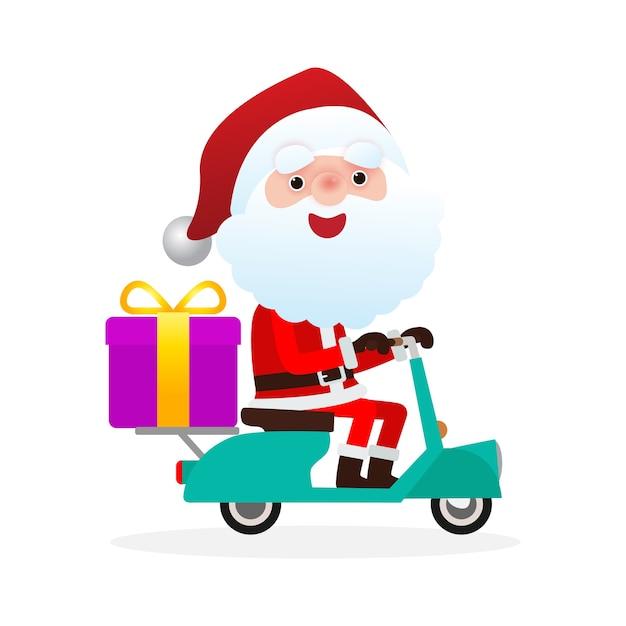 Санта-клаус на скутерах мотоциклов Premium векторы