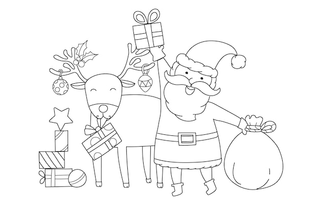 Santa claus and rudolph the red-nosed reindeer vector Free Vector