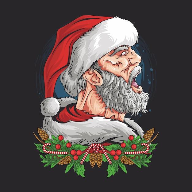 Санта-клаус кричал с сердитым лицом Premium векторы