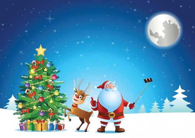 Santa Claus Selfie With Deer And Christmas Tree Before Send