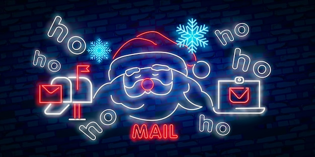 Santa claus sign. neon sign. merry christmas and new year banner Premium Vector
