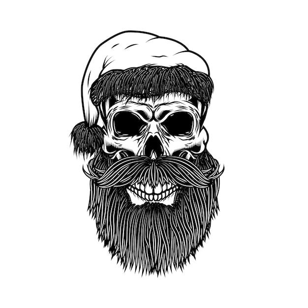 サンタクロースの頭蓋骨。ポスター、カード、tシャツの要素。図 Premiumベクター