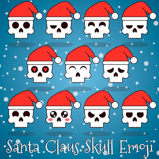 premium vector | santa claus skull emoji  freepik