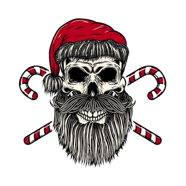 Санта-клаус череп со скрещенными рождественские конфеты. элемент для плаката, карты, футболки. иллюстрация Premium векторы