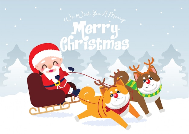 Santa claus on the sledge illustration Premium Vector