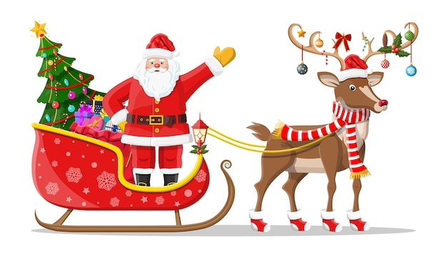Santa claus on sleigh full of gifts, christmas tree and his reindeer. happy new year decoration. merry christmas holiday. new year and xmas celebration. Premium Vector