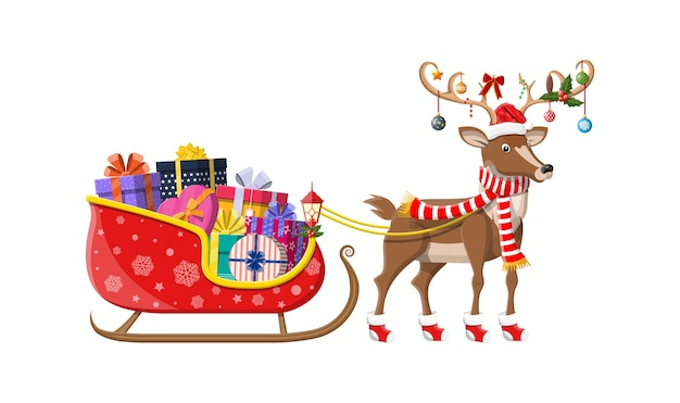 Santa claus sleigh full of gifts and his reindeer Premium Vector