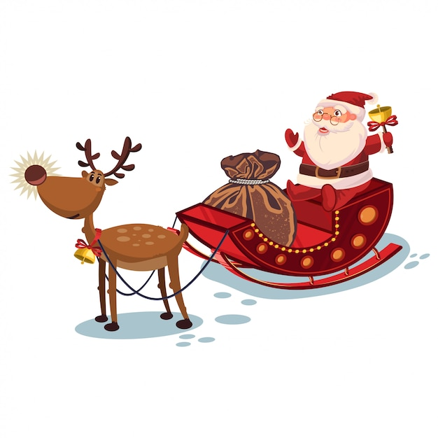 Santa claus in a sleigh with reindeer and sack with gifts. vector christmas cartoon character Premium Vector