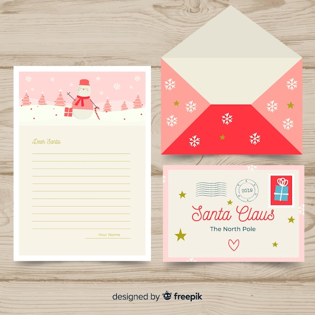 Santa claus snowman letter template Free Vector
