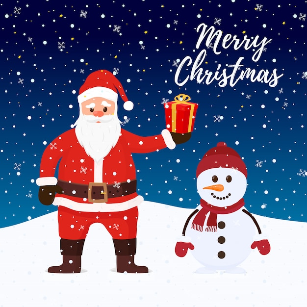 Santa claus snowman Premium Vector