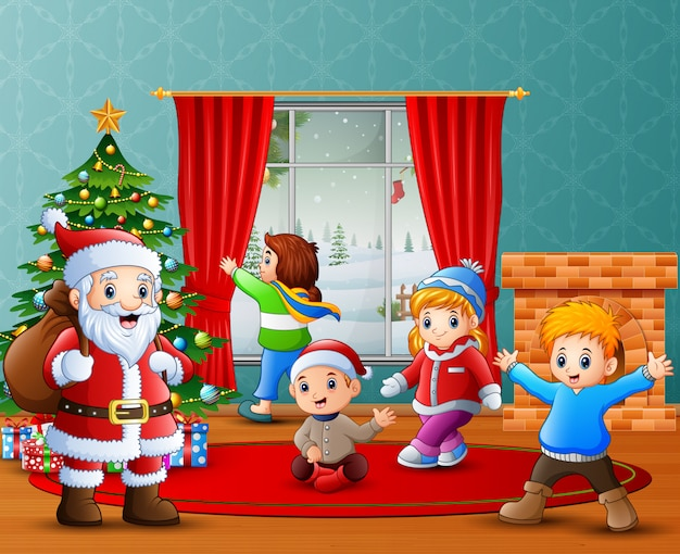 Santa claus and some kids celebrating a christmas at home Premium Vector