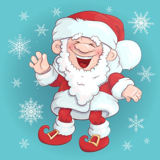 Santa claus stand and smile Premium Vector
