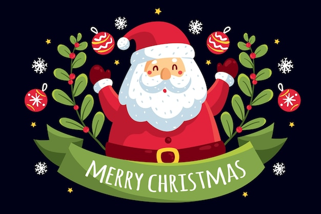 Santa claus surrounded by ribbon and mistletoe Free Vector