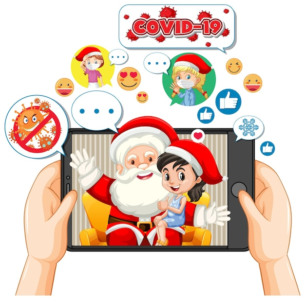Babbo natale sul display del tablet con l'icona dei social media Vettore gratuito