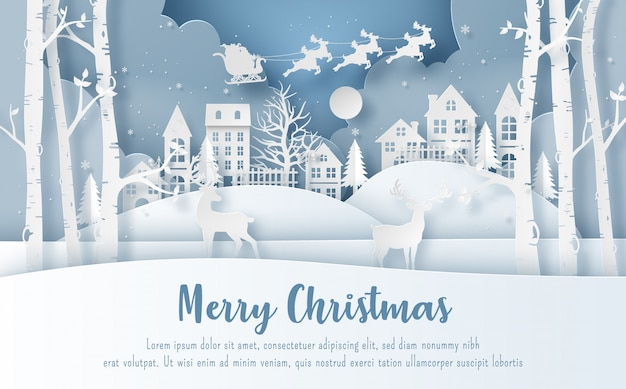 Santa claus at the village in christmas day Premium Vector